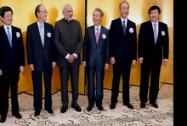 Prime Minister Narendra Modi with Japnese business leaders Hasegawa (Keizai Doyukai) Sakakibara (Keidaanren) Mimura (JCCI) and Kobayashi(Japan Foeign Trade Council) at a luncheon