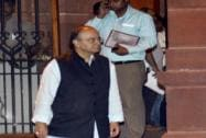 Union Finance Minister Arun Jaitley after a Cabinet meeting at PMO