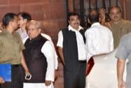 Union ministers  Nitin Gadkari, Kalraj Misra and Anant Kumar after a Cabinet meeting at PMO in New Delhi
