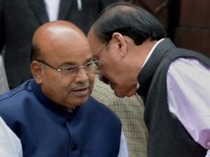 M Venkaiah Naidu and ThawarChand Gehlot after a Cabinet meeting