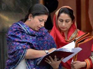 Smriti Irani and Harsimrat Kaur Badal after a Cabinet meeting at South Block