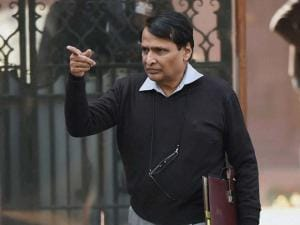 Railway Minister Suresh Prabhu after a Cabinet meeting