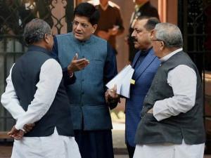 Union Ministers Kalraj Mishra, Jitendra Singh, Piyush Goyal and NS Tomar talk after a Cabinet meeting