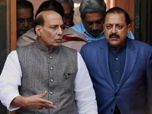 Union Ministers Rajnath Singh and Jitendra Singh after a Cabinet meeting