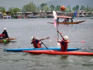 Water sports athletes in action on the last day of Shikara Festival, organised by Jammu and Kashmir Tourism department at Dal Lake in Srinagar