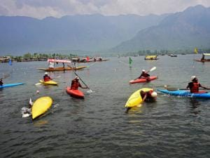 Water sports athletes in action on the last day of Shikara Festival, organised by Jammu and Kashmir Tourism department at Dal Lake in Srinagar (2)