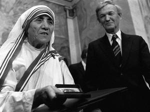 Dec. 10, 1979 file photo, Mother Teresa receives the Nobel Peace Prize during  a ceremony at Oslo University