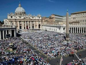 St. Peter's Square is crowded with faithful attending a Canonization Mass  for Mother Teresa