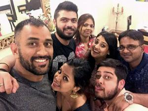 Mahendra Singh Dhoni celebrates Diwali festival with his close friends at his residence