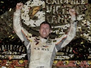 Carl Edwards celebrates in victory