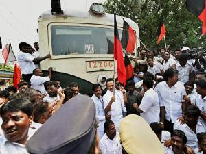M K Stalin along with party MLAs and other functionaries stage a rail roko