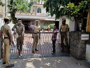 An outside view of former Union Finance Minister P Chidambaram's Nungambakkam bungalow