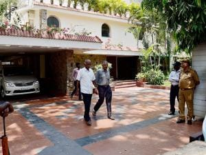 CBI officers after conducting a raid at Karti P Chidambaram's Nungambakkam bungalow