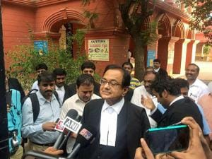 Former finance minister P Chidambaram outside the Karnataka High Court in Bengaluru
