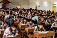 Students appear for class 12th Board exams in a school