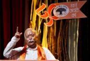 RSS chief Mohan Bhagwat addresses during the Vishwa Hindu Parishad (VHP) golden Jubilee