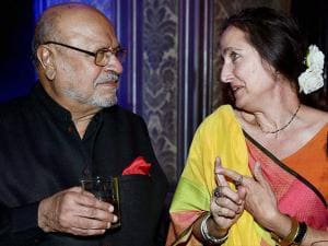 Bollywood film writer and director Shyam Benegal along with Sanjana Kapoor, daughter of Shashi Kapoor at a celebration of 90th birthday of the Queen Elizabeth II in Mumbai