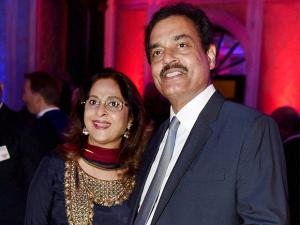 Former Indian crickter Dilip Vengsarkar along with his wife Manali poses at a party to celebrate the 90th birthday of the Queen Elizabeth II in Mumbai