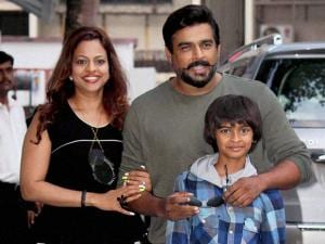 Bollywood actor R Madhavan with wife Sarita Birje and son Vedant Madhavan arrive to attend 4th birthday celebrations of Shilpa Shetty's son Viaan
