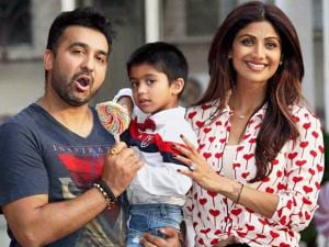 Bollywood actor Shilpa Shetty with husband Raj Kundra celebrate their son Viaan's birthday