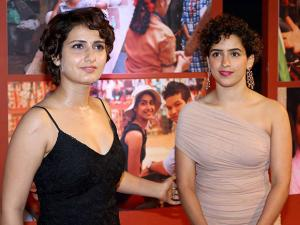 Fatima Sana Shaikh and Sanya Malhotra during the success party of film 'Dangal' in Mumbai