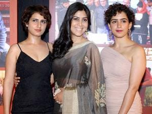 Sakshi Tanwar, Fatima Sana Shaikh and Sanya Malhotra during the success party of film 'Dangal' in Mumbai
