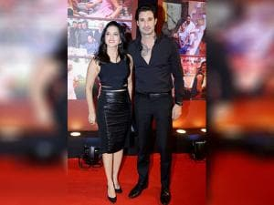 Sunny Leone with husband during the success party of film 'Dangal' in Mumbai