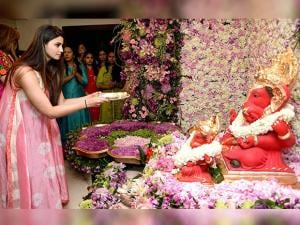 Daisy Shah offering prayers to Lord Ganesh