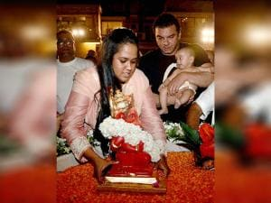 Sohail Khan with sister Arpita Khan Sharma and her son participate in an immerson procession