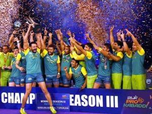 Players of Patna Pirates celebrates after winning the Pro Kabaddi finals beating U Mumba