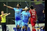 Indian players celebrate a goal against Belgium in the quarterfinal at Champions Trophy at Kalinga