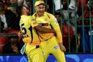 Chennai Super Kings Faf Du Plesis with Suresh Raina after taking a sucessful catch of Manvender Bisla