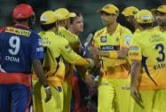 Chennai Super Kings' players celebrating after win over Delhi Daredevils
