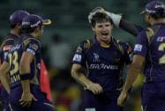 Kolkata Kinght Riders' players celebrates after a wicket of Chennai Super Kings'  Ravindra Jadeja