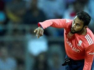 England's Adil Rashid in action during a ICC WT20 match against West Indies at Wankhede Stadium