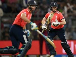 England's  in action during a ICC WT20 match against West Indies at Wankhede Stadium