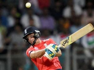 England's Jos Buttler in action during a ICC WT20 match against West Indies at Wankhede Stadium