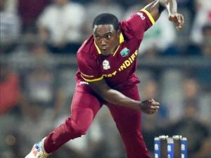 West Indies'  bowler Jerome Taylor in action against England during a T20 World Cup match at Wankhede Stadium in Mumbai