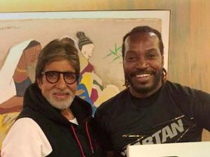 Actor Amitabh Bachchan with_West Indies batsman Chris Gayle in Mumbai