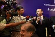 Pakistani High Commissioner to India Abdul Basit  speaks to media