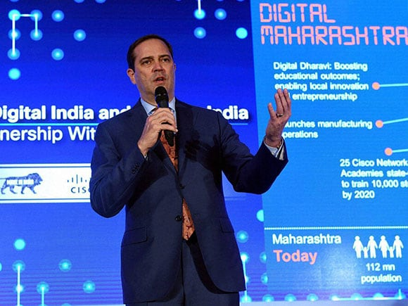 Make in India, Cisco, Digital India, Cisco Systems, Devendra Fadnavis, Chuck Robbins