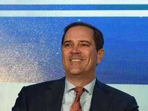 Chuck Robbins, CEO of Cisco Systems addresses a conference