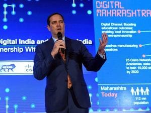 Chuck Robbins, CEO of Cisco Systems addresses a conference on 'Enabling Digital India and Make in India'