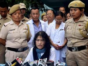 Irom Sharmila  during a press conference