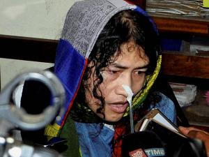 Irom Sharmila talking to the media