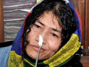 Irom Sharmila talking to the media at court complex in Imphal