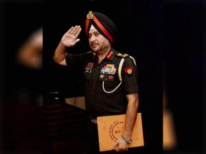 Ranbir Singh DGMO salutes after a Press Conferences in New Delhi