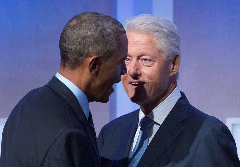 President, Barack Obama, welcomed, stage, former President, Bill Clinton, Clinton Global Initiative