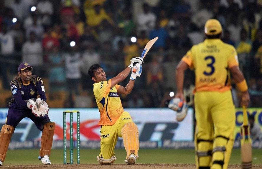 Chennai Super Kings, batsman, M S Dhoni, hits, winning six, CLT20 final match against Kolkata Knight Riders at Chinnaswamy Stadium in Bengaluru