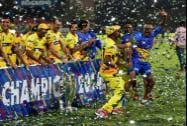 Chennai Super Kings players celebrates with  CLT20 Trophy